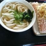 百こ萬 - かけ小+かき揚げ+海老の平天の天ぷら