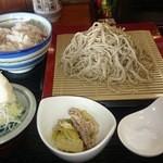 輪一 - 昼ご飯セット。鮭ごはん・十割そば・小鉢・辛味大根・塩・香の物・昆布佃煮