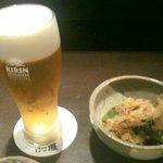 はな遊 - おひたし&ビール