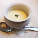 ア ピアチェーレ - 旬のとうもろこしの冷たいポタージュスープ
