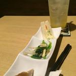 mino - 料理写真:お通し、柚子サワー