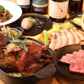 【旬の食材熱々鉄器料理】と各国のワインをマリアージュ♪