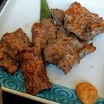 福光 - 厚みがあり結構噛みごたえがある豚ハラミ。       付け合せの味噌と一緒に食べると中々いいお味。