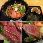 48723919 - びらとり和牛ステーキ丼~ガーリックライスで~(味噌汁・漬け物付き)1,580円