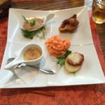 48728647 - 豚肉のリエット♪タコのチリソース煮♪鯛のフラン♪ポテトチーズ焼♪キャロットマリネ