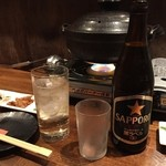 48733626 - 飲み放題のビールはサッポロ黒ラベルの瓶でした。