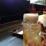 和鶏屋 - H.28.3.17.夜 角ハイボール vs 生ビール de 乾杯
