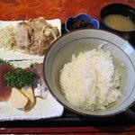 えんざ - えんざの定食「豚の生姜焼、お刺身」
