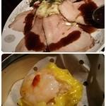 48754323 - 四元豚ローストの黒酢ソースがけ~春キャベツ添え                       鶏と海老の特製あくび焼売