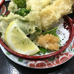 廻鮮寿し丸徳 - 春の山菜天ぷら盛り合わせ(たけのこ、大葉、たらの芽、こごみ) 195円