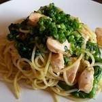 akane - サーモンと菜の花ゆずこしょうの和風スパゲティ