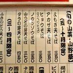 よもだそば - 山野草の天ぷらがそそりますね、これで一杯やりたい!