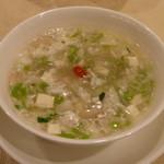 南園 - クレソンと豆腐、白身魚のスープ