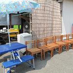 たえちゃんラーメン - お店の外に海の家風な腰掛待合。そんなに人気店とは知らなかったです。