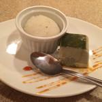 祇園 馬春楼 - デザート  桜シャーベットと蓬のパンナコッタ
