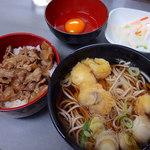 浅間そば - げそ天そば(360円)+ミニ牛丼(260円)+玉子(50円)