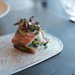 スカイ レストラン 634 - 前菜その3 マグロと春菊の白和え 春の彩