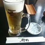 町の寿し - 生ビールはプレミアムモルツ