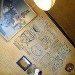 大阪屋食堂 - 壁の特徴的な絵のメニュー