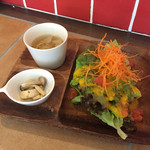 my cafe - 160322 ランチのサラダ・スープ