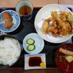 天えい - かしわ天ぷら定食(800円)