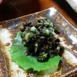 梅鶯荘 - つぼみがしっかりと開いていて苦味の少ない「ふきのとうの醤油油炒め」