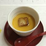 鴨正 - ソラマメの茶わん蒸しとフォアグラ