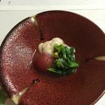 鴨正 - 白子と菜の花,ミニトマト煮