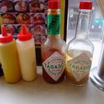 ピアピア - 調味料たち。タバスコの横の瓶に着目