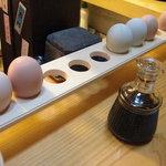 京都岡崎 いく田 - 近江軍鶏と名古屋コーチンの卵を選びました