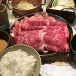 しゃぶ亭 - 牛豚ミックス定食 ダブル  1954円