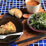 Haco-cafe - 日替わりプレート(キッシュ・ルッコラサラダ・ベーグル・スープ)