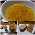 48930351 - ◆最初に「パン」と「「スープ」が出されます。                       スープは「ミネストローネ」ですが、お野菜の旨みを生かすためなのかしら、薄味ですね。