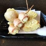小平うどん - 串天:味玉・うずらベーコン・たまねぎ
