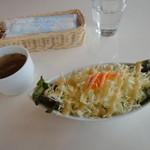 ライブカフェ はやせ - 料理写真:サラダ+スープ