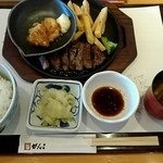 48952423 - ステーキ定食(赤だし・チキン南蛮付き)
