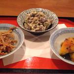 48968623 - 野菜三種 きんぴら胡麻マヨ和え かぼちゃ梅おかか和え クリームチーズ和え