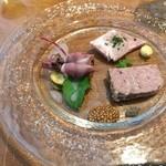 ブロシェット - 前菜  パテ ド カンパーニュ、蛍烏賊と金柑のマリネ、自家製ロースハム。