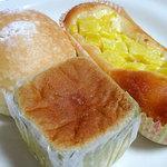 パンドール - つぶ&ホイップ180円、抹茶ミルク200円、たくあんパン200円