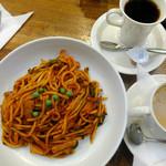純喫茶モネ - 昔ながらのナポリタン・スープドリンクセット