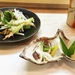 あら井 - [ここから 2016/3/25] 前菜 (大根の山椒煮とかつおのスモーク)とサラダ