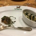 小倉 匠のパスタ ラ・パペリーナ - 3月 牡蛎とナヅナ イノコヅチをあしらったコノワタガーリックライス