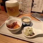 トタン屋本舗Juichi - 201603 お通し3種類。玉子豆腐、鳥のなめろう、ニシンのマリネ