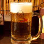 串かつ 前田製作所 - 生ビール(¥480)はサントリーモルツ。ビリケンさんが浮かび上がる!
