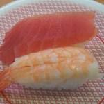 かっぱ寿司 - まぐろエビ セット<税込>108円(2016.03.26)