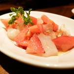 49047399 - マルセンファームのフルーツトマトと真鯛のセビーチェ