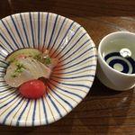 小料理 はせべ - 天然鯛の昆布〆と旬の野菜の梅酢あんかけ