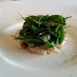 ル・ゼフィール - 前菜はカンパチのカルパッチョ。この前にとらふぐの白子のアミューズがでました