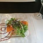 49071143 - 前菜:炙りサーモンと水菜のサラダ