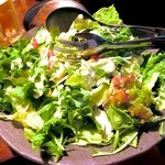 座楽 - サラダ。もう少し彩りがあるといいのだけど? 人参とかトマトとかいれてさっ。